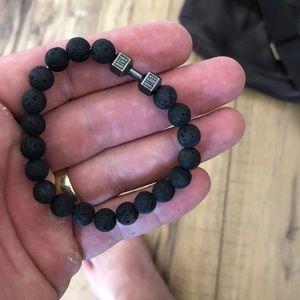 Jewelry - Lava Rock Stone Beads Metal Dumbbell Bracelets